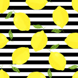 Vector seamless pattern with lemons and stripes Stock Photo