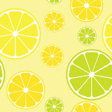 Vector seamless pattern with lemons. Yellow background royalty free illustration