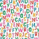 Vector seamless pattern with letters of the alphabet in random order. Objects isolated on white background Stock Photography