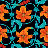 Vector seamless pattern with lily flowers on dark background. tropical summer, bright blue and orange colors. Royalty Free Stock Image