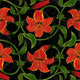 Vector seamless pattern with lily flowers on dark background. tropical summer, bright green and orange colors Royalty Free Stock Photo