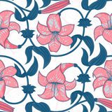 Vector seamless pattern with lily flowers on white background. tropical summer, bright blue and pink colors. Royalty Free Stock Image