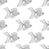 Vector seamless pattern of line art goldfish. Endless background. Of fish Stock Images