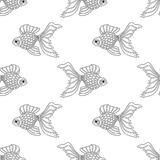 Vector seamless pattern of line art goldfish. Endless background. Of fish Stock Photography