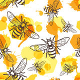 Vector seamless pattern with linear bee, liquid honey and watercolor honeycombs.  Royalty Free Stock Images