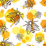 Vector seamless pattern with linear bee, liquid honey and watercolor honeycombs. Royalty Free Stock Photography
