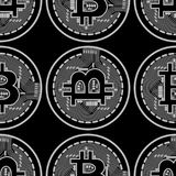 Vector seamless pattern with bitcoins. Vector seamless pattern with linear bitcoin illustration Royalty Free Stock Images