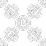 Vector seamless pattern with bitcoins. Vector seamless pattern with linear bitcoin illustration Stock Photo