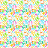 Vector seamless pattern with linear icons Stock Photos