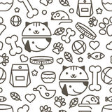 Vector seamless pattern with linear muzzle of cat and dog, goods Stock Photo