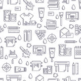Vector seamless pattern with linear printing symbols and icons. Stock Images