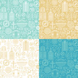 Vector seamless pattern with linear travel icons Royalty Free Stock Images
