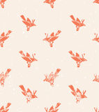 Vector seamless pattern. linocut style with birds. Stock Images