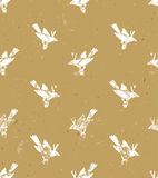 Vector seamless pattern.linocut style with white birds. Vector grunge design for cards, wallpapers and backgrounds. Stock Photo