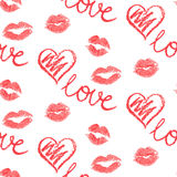 Vector seamless pattern - lips prints Royalty Free Stock Photo