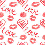 Vector seamless pattern - lips prints Stock Photography