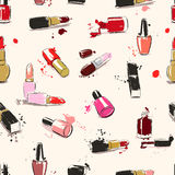 Vector seamless pattern with lipstick & nail polish Stock Photo
