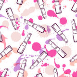 Vector seamless pattern with lipsticks, watercolor blots and splashes. Royalty Free Stock Photography