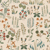 Vector seamless pattern of little different flowers in Shabby chic style. Stock Photo