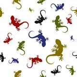 Vector seamless pattern with lizards Stock Photo