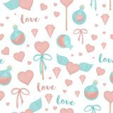 Vector seamless pattern with lollipop hearts, bows, magic potion, wings on white background. Cute magical love watercolor style vector illustration