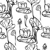 Vector seamless pattern with lotus flower Stock Photo