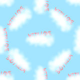 Vector seamless pattern love clouds. Valentine love text in a blue sky with clouds. Vector seamless pattern Royalty Free Stock Photo