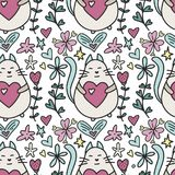 Vector seamless pattern with a lovely cartoon cat, hearts and flowers. Cute happy Valentines day card Royalty Free Stock Photography