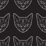 Vector seamless pattern with low poly cats Royalty Free Stock Photo