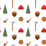 Vector seamless pattern with lumberjack icons: mustache, tree Stock Photo