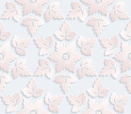 Vector seamless pattern. Luxury foliage texture with 3d leafs. Pattern can be used as a background, wallpaper, wrapper, page fill, element of decoration Stock Image