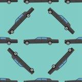 Vector seamless pattern luxury limousine long car transportation detailed auto business transport design pickup Stock Photos
