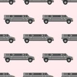 Vector seamless pattern luxury limousine long car transportation detailed auto business transport design pickup Stock Image