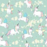 Magic cute unicorns. Vector seamless pattern with Magic cute unicorns vector illustration