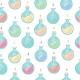 Vector seamless pattern with magic potion on white background. stock illustration