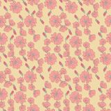 Vector seamless pattern with mallow flowers Royalty Free Stock Photos