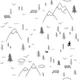 Vector seamless pattern with man walking in mountains Stock Photos