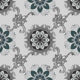 Vector illustration texture. Vector seamless pattern of mandala. White Oriental Ornament on grey background. Arabic, Indian motifs Stock Photos