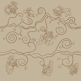 Vector seamless pattern. Many little birds on branches. With hearts on beige background. Beige and brown colors Royalty Free Illustration