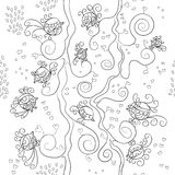 Vector seamless pattern. Many little birds on branches Stock Image
