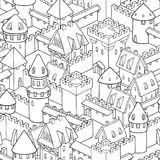 Vector seamless pattern with medieval architecture. Cute cartoon city. Illustration with towers, walls, streets, houses stock illustration