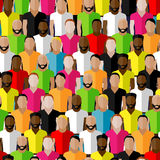 Vector seamless pattern with men crowd. illustration of men community Stock Images