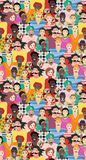 Vector seamless pattern with men and women of different ages, races and nationalities. Can be used for poster, card, invitation, placard, brochure, flyer Royalty Free Stock Images
