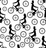 Vector seamless pattern with men and women riding bicycles Royalty Free Stock Image