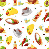 Vector seamless pattern with Mexican traditional food Stock Photo