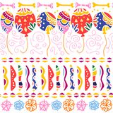 Vector seamless pattern for Mexico traditional celebration - dia de los muertos. With colorful air balloons, abstract ornaments, bones, flowers isolated on