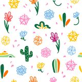 Vector seamless pattern with Mexico traditional decor elements. With colorful flowers, petals, cactus isolated on white background. Good for packaging design royalty free illustration