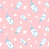 Vector seamless pattern with milk bottle. Cute childish print for fabric, wrapping, textile, wallpaper, apparel Royalty Free Stock Photo
