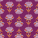 Vector seamless pattern with minimalistic flowers in retro style. Vector seamless pattern with minimalistic florals in retro style. Vintage floral backgound Stock Photos