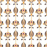 Vector seamless pattern with minimalistic nordic flowers in retro style royalty free illustration